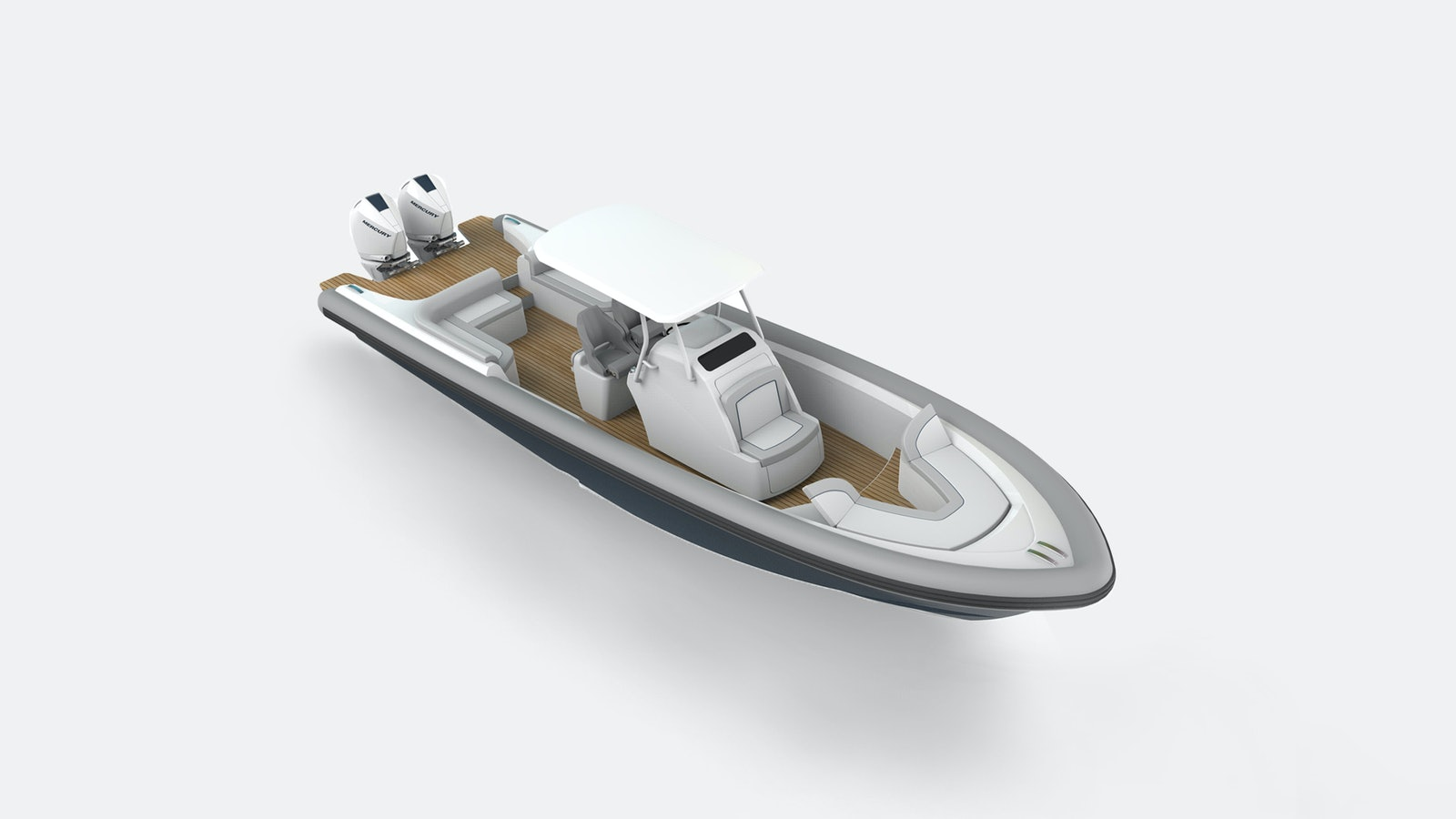 Ocean-1-Rogue-330-luxury-yacht-tender-Mercury-300-outboards-overhead-profile